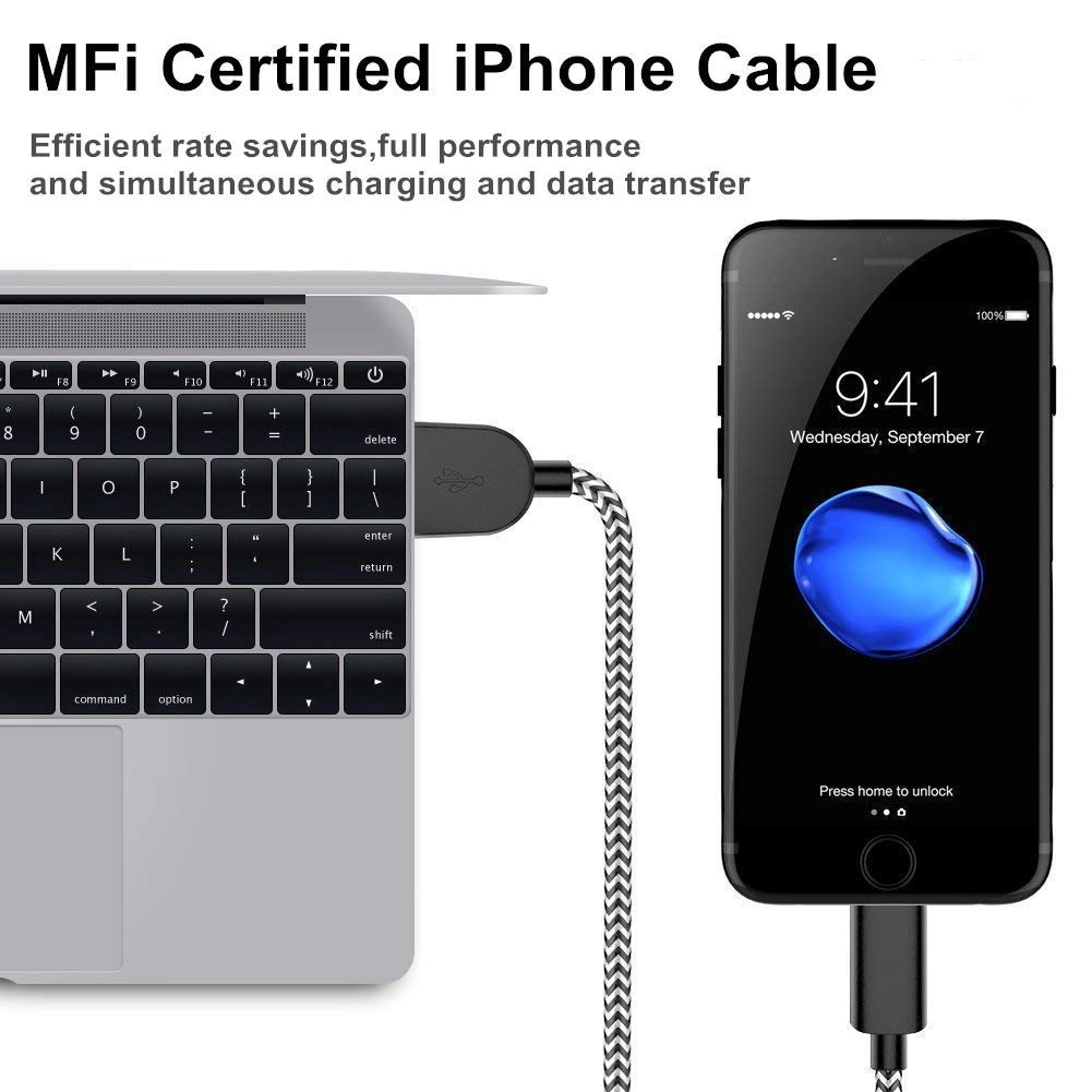 MFi Certified Cable 6Pack 3FT 3FT 3FT 6FT 6FT 10FT Extra Long Nylon Braided USB Fast Charging/& Syncing Cord Compatible with iPhone//XS//XR//X//8//8Plus//7//7Plus//6S and More Lightning Cables iPhone Charger