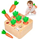 Aitbay Educational Wooden Toys for Toddlers, Carrots Harvest Shape Size Sorting Game, Developmental Montessori Toys for 1 Yea
