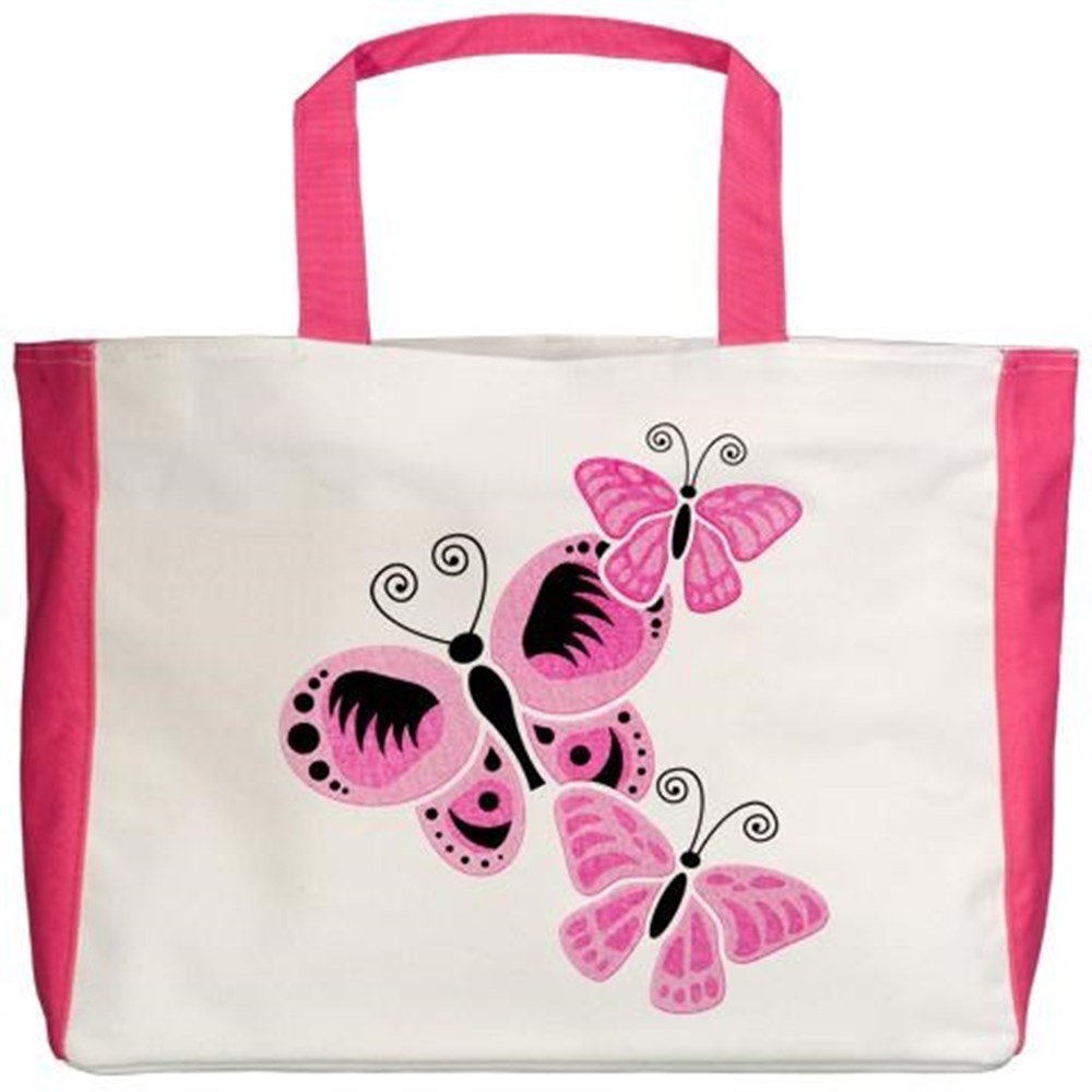 Royal Lion Beach Tote Cancer Pink Butterflies Ribbon Support 2-Sided