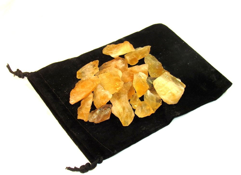 Zentron Crystal Collection Citrine Rough Bulk Stones and Velvet Pouch (1/2 Pound) by Zentron Crystal Collection