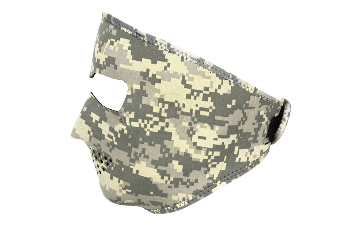 ACU Digital Camo Camouflage Full Face Neoprene Army Marines Tactical Military Reverses to solid black Adjustable