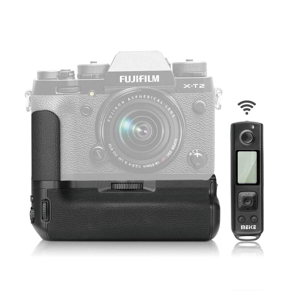 Meike MK-XT2プロプロフェッショナルバッテリグリップ、富士フイルムX-T2カメラグリップ用2.4G 100mワイヤレスリモコン搭載   B07KNQNL8D