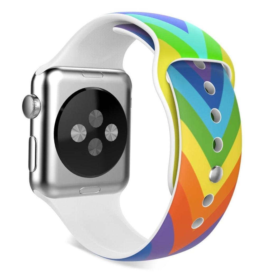 Creazy New Fashion Sports Silicone Bracelet Strap Band for Apple Watch 42mm (Multicolor)
