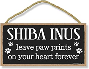 Honey Dew Gifts Shiba Inus Leave Paw Prints, Wooden Pet Memorial Home Decor, Decorative Dog Bereavement Wall Sign, 5 Inches by 10 Inches