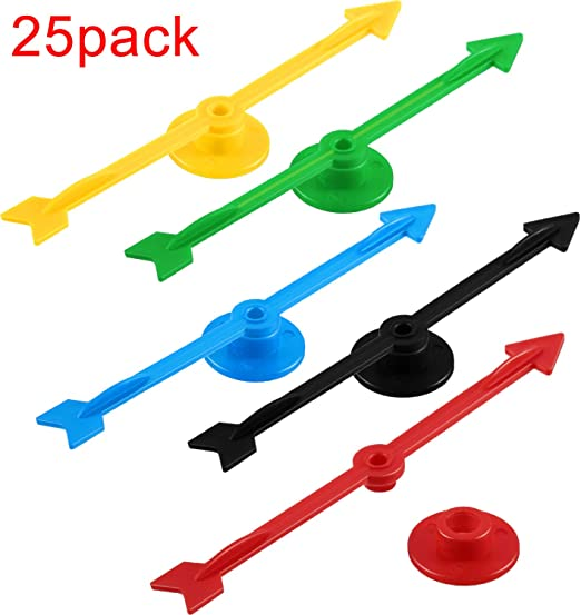 Chengu 4 Pulgadas de Flecha de Spinner de Juego de Plástico en 5 Colores para Escuela, Spinner de Juego de Tablero (25 Piezas): Amazon.es: Juguetes y juegos