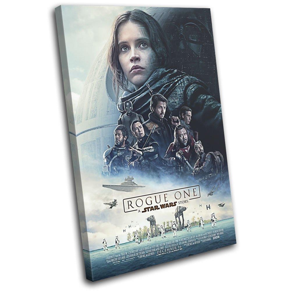 Bold Bloc Design - Star Wars Rogue One Poster Movie Greats 60x40cm SINGLE Leinwand Kunstdruck Box gerahmte Bild Wand hangen - handgefertigt In Grossbritannien - gerahmt und bereit zum Aufhangen - Canvas Art Print