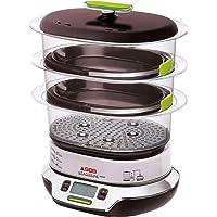 Seb VitaCuisine Compact - Olla al vapor, 3 cestas de vapor, sin BPA, 2 bandejas de cocción, jarrinas de cristal, soporte…
