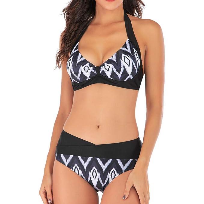 Mymyguoe Traje de baño Dividido de Tallas Grandes Bañadores Bikinis de Mujer Biquinis Mujeres brasileños Biquinis Push Up Bañadores de Mujer Natacion ...
