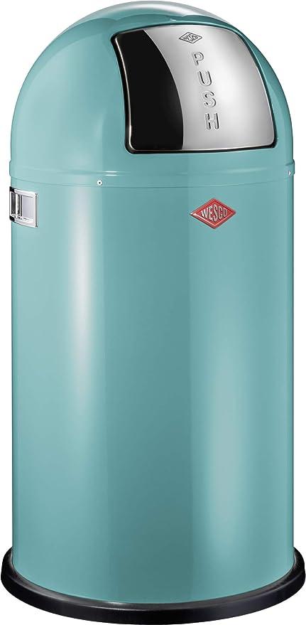 Wesco Pushboy Chroom.Wesco Pushboy Push Door Trash Can Powder Coated Steel 13 2 Gallon 50l Turquoise
