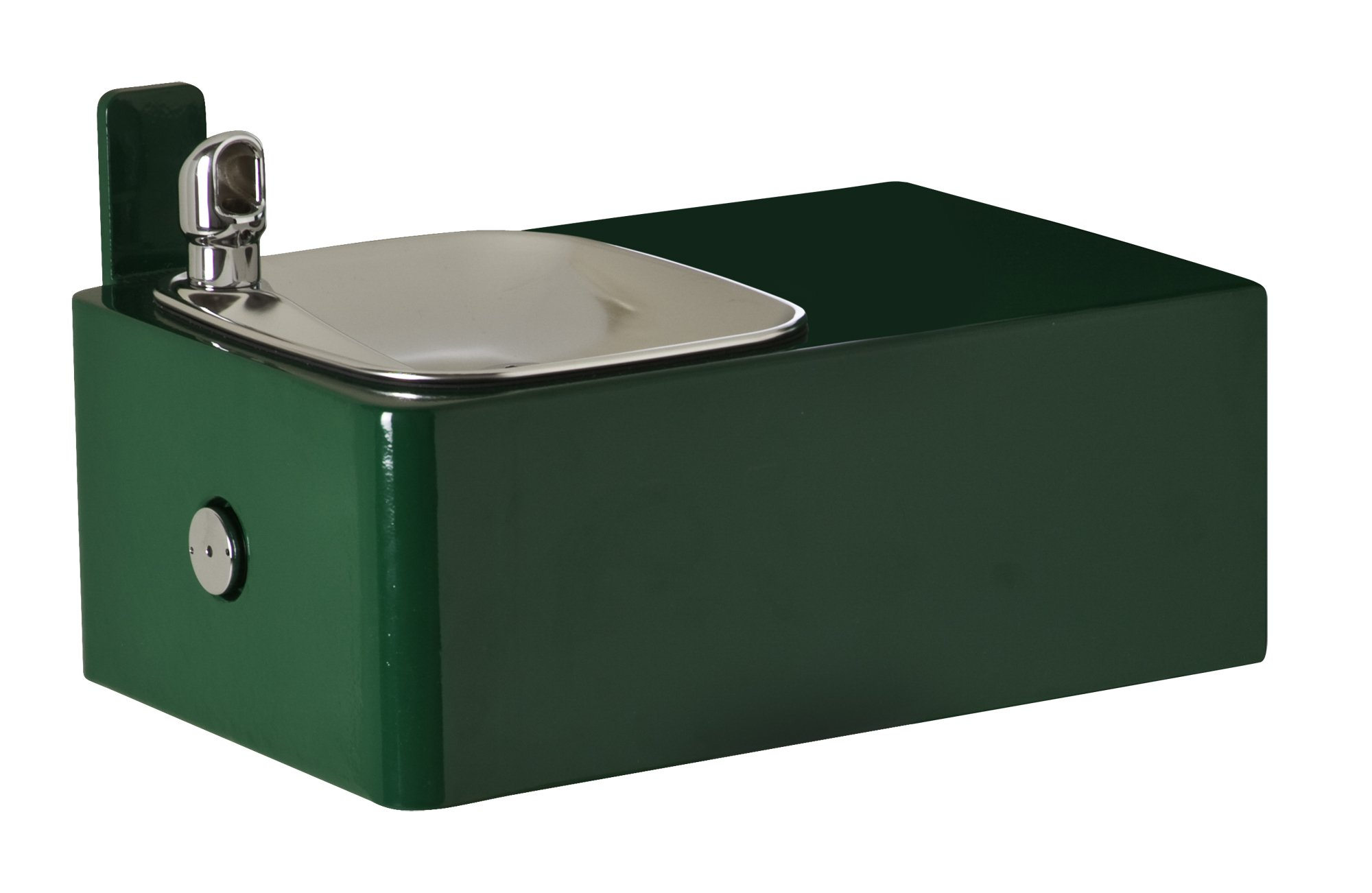 Haws 1025 11-Gauge Fabricated Steel Barrier-Free Wall Mounted Drinking Fountain with Green Powder-Coated Galvanized Steel Wall Bracket (Mounting Frame Not Included) by Haws