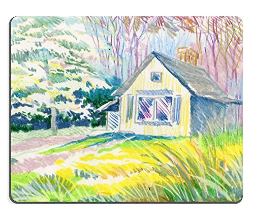 Liili Mouse Pad Natural Rubber Mousepad IMAGE ID: 38167922 Watercolor Rural hut in the forest (Hut Village In)