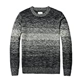 Kebinai Handsome and Silm New Autumn Winter Striped Sweater Men Vintage Wool Pullovers O neck Slim fit Knitwear BlackX-Large