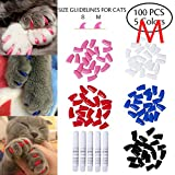 #9: Dollshouse 100 PCS Soft Pet Cat Nail Paws Claws Caps Cats Paws Nail Covers of 5 Kinds Different Colors and 5PCS Adhesive Glues with Instructions