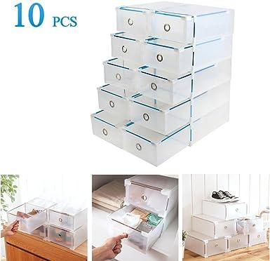 Vinteky 10x Cajas de Zapatos Plegables de Plástico, Cajas para Zapatos Transparente Plástico, Caja para Guardar Zapatos, Calcetines, Juguetes, Cinturones para la Organización de su Hogar, Oficina: Amazon.es: Alimentación y bebidas