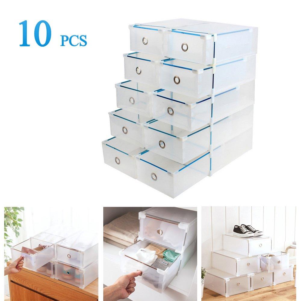 Pack de 10 cajas plegables de plástico. Son apilables y se abren como cajones.