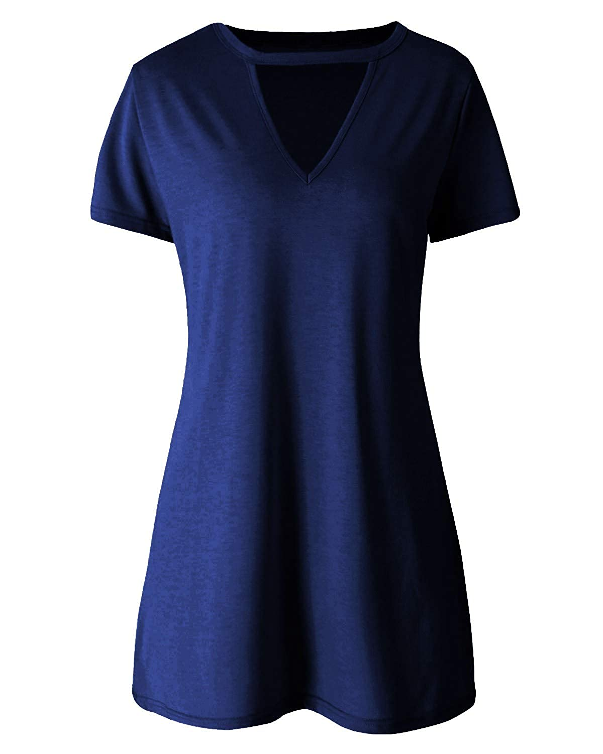 8620eaa85693 SOLERSUN Women Sexy Solid Loose T-Shirt Dress Choker V Neck Short Sleeve  Top at Amazon Women s Clothing store