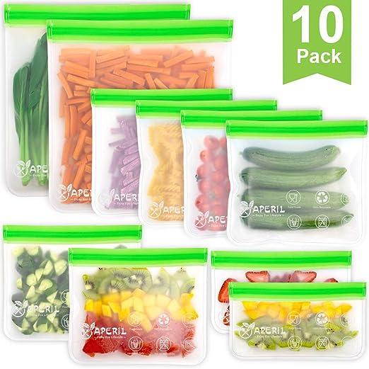 10 Pack bolsas de almacenamiento reutilizables, bolsas de ...