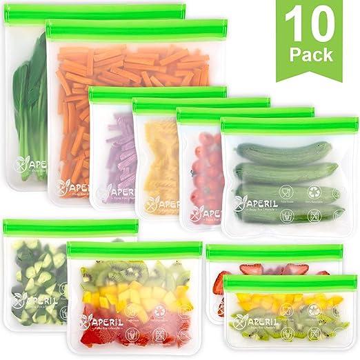 10 Pack bolsas de almacenamiento reutilizables, bolsas de bocadillos y bocadillos Ziplock reutilizables, caja fuerte para congelador, bolsas libres de ...
