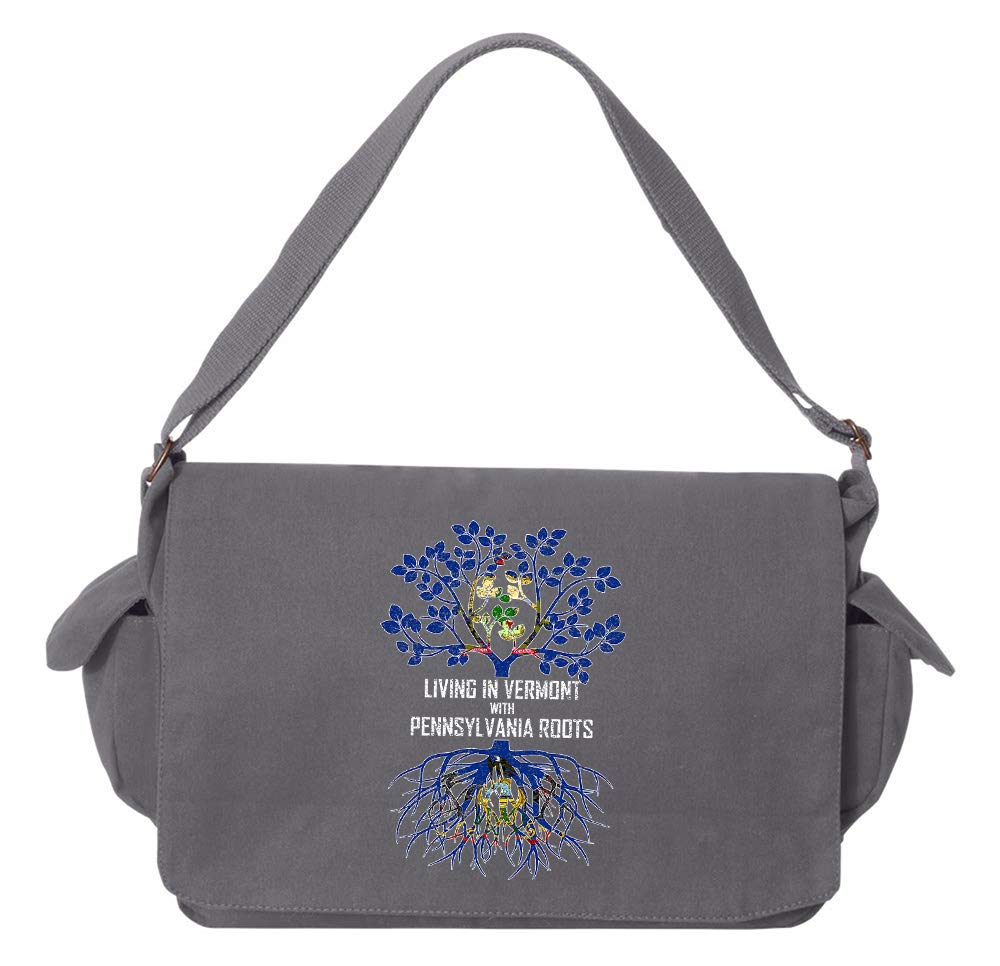 Tenacitee Living In Vermont with Pennsylvania Roots Grey Brushed Canvas Messenger Bag