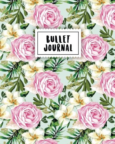 Bullet Journal: Vintage Pink Rose | 150 Dot Grid Pages (size 8x10 inches) | with Bullet Journal Sample Ideas