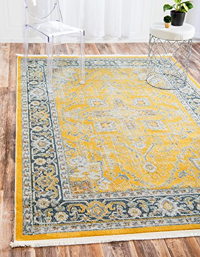 Unique Loom Baracoa Collection Bright Tones Vintage Traditional Yellow Area Rug (5' 5 x 8' 0)