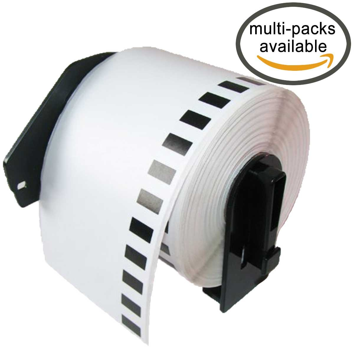 LiteTite DK-2205 (8 Rolls) Continuous Length Paper Tape Labels, Compatible with Brother P-Touch QL-Series, 2.4 (2-3/7) Inches (62mm) by 100 ft, includes (1) Snap-On-Frame (LT2205)