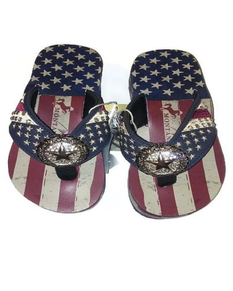 ae3dd71597ed Montana West Ladies Flip Flops American Pride USA Flag Navy Blue