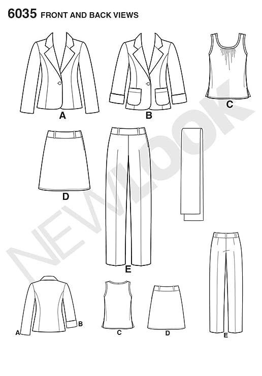 New Look 6035 - Patrón de costura para conjunto de chaqueta, top ...