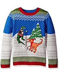 Big Boy's Dinosaur Fight Xmas Sweater,