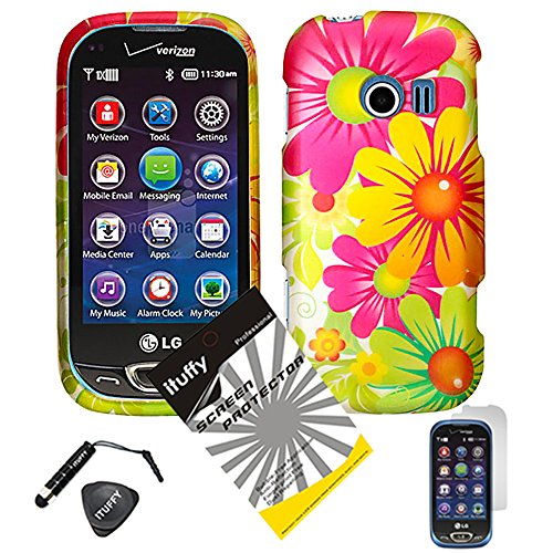 4 items Combo: ITUFFY (TM) LCD Screen Protector Film + Mini Stylus Pen + Case Opener + Yellow Pink Green Colorful Daisy Sun Flower Design Rubberized Snap on Hard Shell Cover Faceplate Skin Phone Case for LG Extravert 2 VN280 (Yellow Flower)