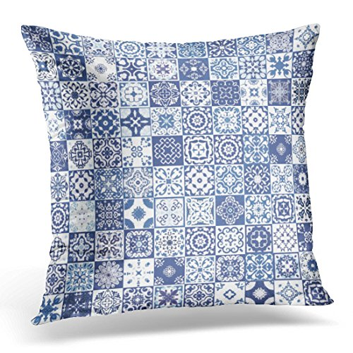UPOOS Throw Pillow Cover Colorful Indigo Floral Patchwork Moroccan Mediterranean Tiles Tribal Mosaic Ornaments for Blue White Teal Decorative Pillow Case Home Decor Square 18x18 Inches (Mediterranean Blue Mosaic)