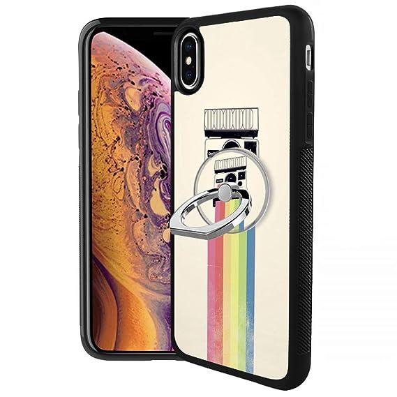 newest 7d7e5 0df18 Amazon.com: Designed Rainbow Polaroid iPhone Xs Max Case with Ring ...