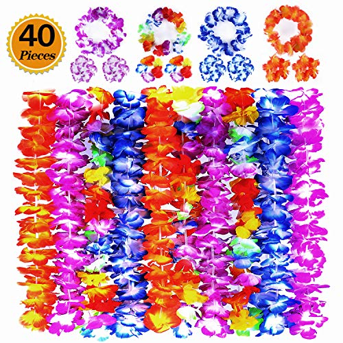 Ginmic Hawaiian Leis, Luau Party Favors, 40Pcs Tropical Hawaiian Party Necklace, Headbands and Wristbands, For Kids or Adults Party Supplies, Summer Beach Vacation, Theme Party Decorations, Birthday, -