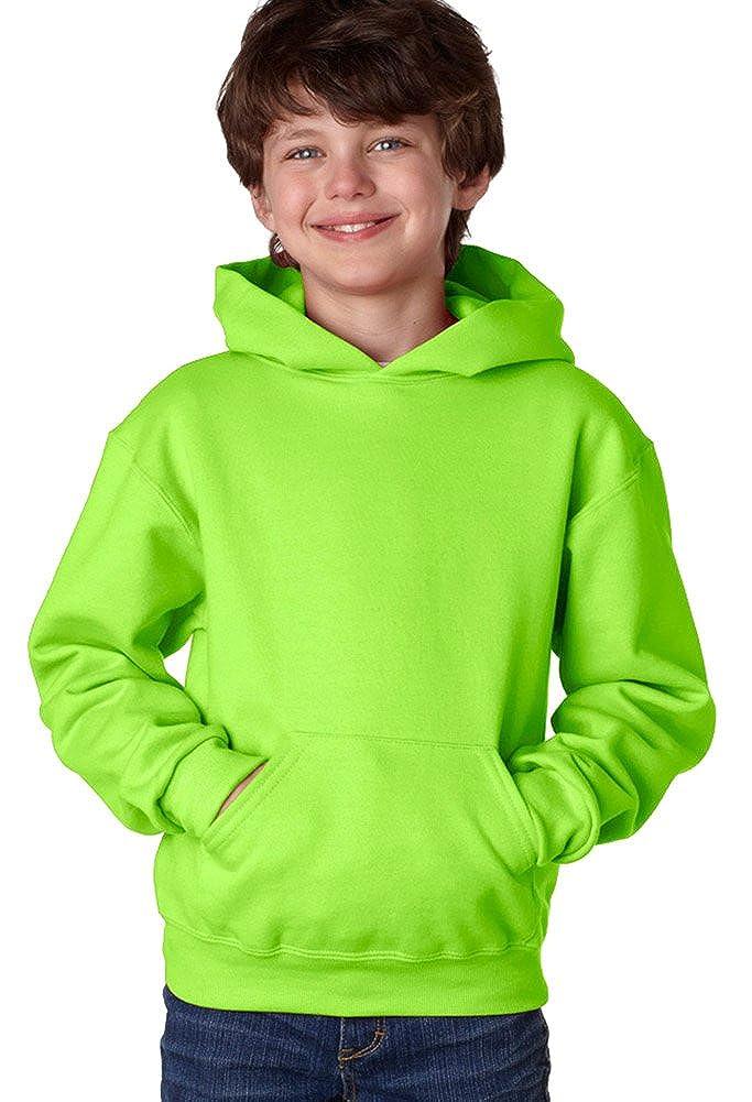 Jerzees Youth 8 oz. 996Y 50//50 NuBlend Fleece Pullover Hood NEON GREEN