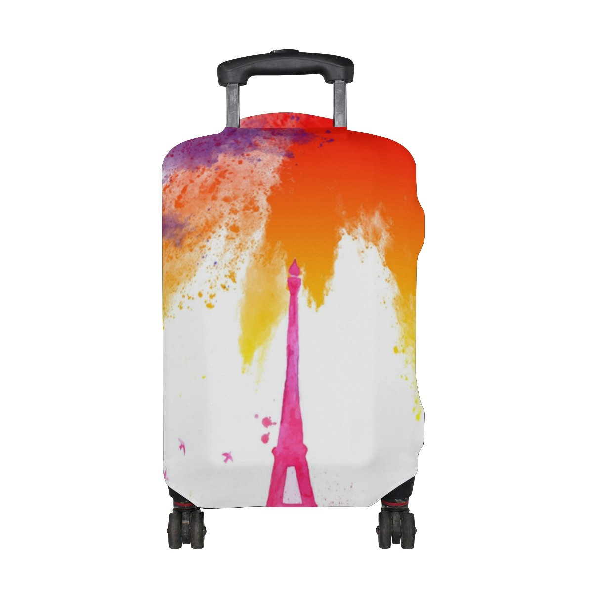 LEISISI Watercolor City Eiffel Tower Luggage Cover Elastic Protector Fits XL 29-32 in Suitcase