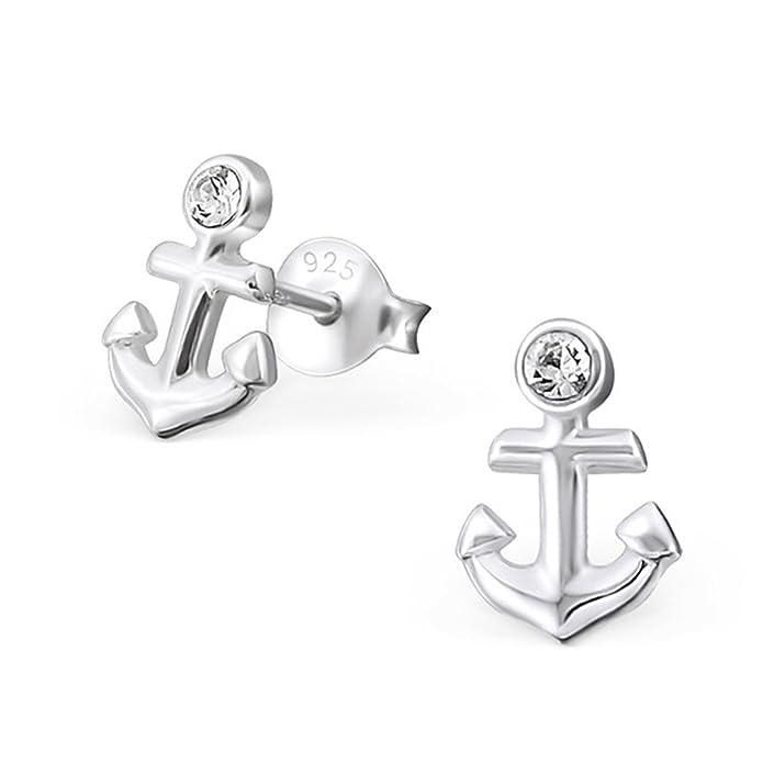 Kristall Anker Ohrringe 925 Echt Silber Ohrstecker Maritim Geschenkidee gh-1a