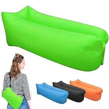 tfxwerws hinchable portátil saco de dormir Lazy sofá tumbona cama de aire para interior al aire libre senderismo camping playa (verde): Amazon.es: Deportes ...