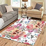 Cheap InterestPrint Watercolor Pink Wildflower Butterfly Sugar Skull Area Rugs Carpet 7 x 5 Feet, Tattoo Design Modern Carpet Floor Rugs Mat for Children Kids Home Living Dining Room Playroom Decoration