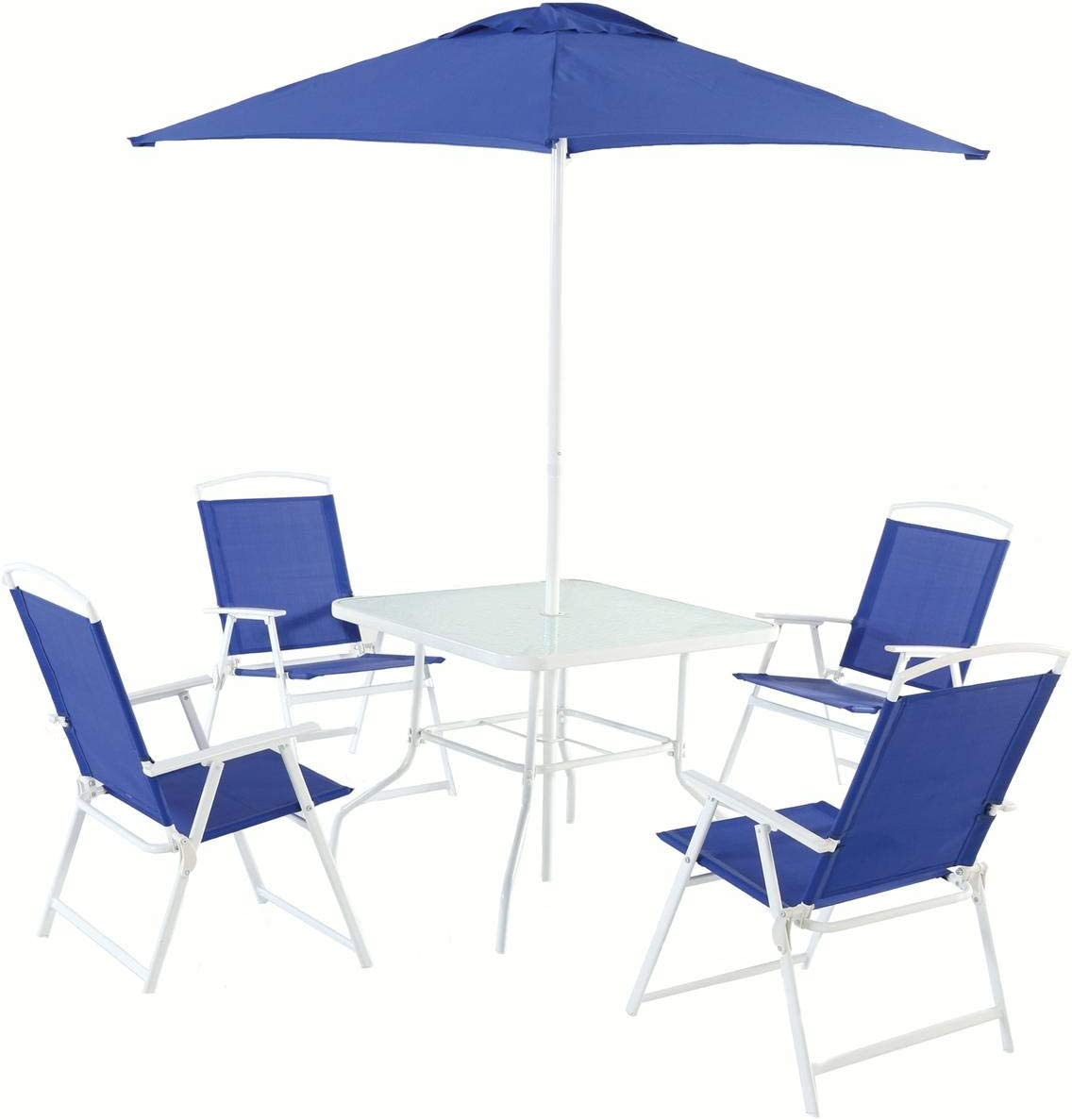 Mainstays Albany Lane 6-Piece Folding Seating Set (Blue): Garden & Outdoor
