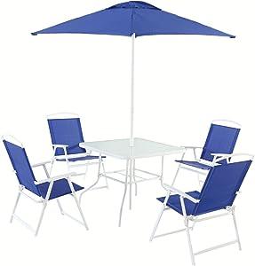Mainstays Albany Lane 6-Piece Folding Seating Set (Blue)