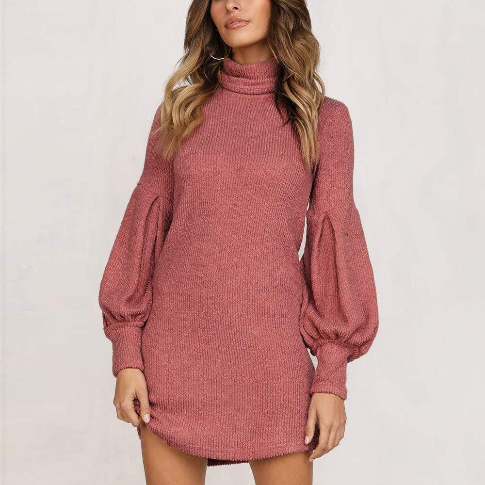 Damen Rollkragen Pulloverkleid Kleid Longpullover Pulli Stricken Minikleid Tops
