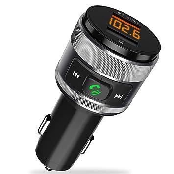 Transmisor FM Bluetooth, Manos Libres Bluetooth Coche Kit Adaptador de Radio, QC3.0 Inalámbrico Cargador de Coche con Doble Puerto USB y leer U Disk ...