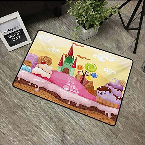 Moses Whitehead Printing Door Mat Cartoon,Kids Sweet Castle Landscape with Donuts Muffins Ice Cream Nursery Image,Sand Brown and Pink,XL Jumbo, No Phthalate, Water Resistant, 30