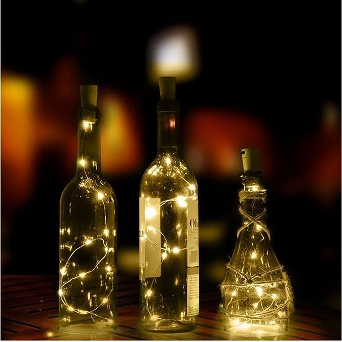 9 Pieza LED botellas velas de luz Estado de Ánimo de alambre de cobre Cork forma 200 cm con 20 ledes de cálida luz de LED luz nocturna Vino Botella boda ...