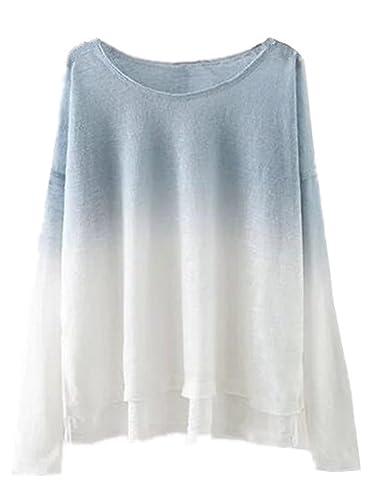 AILIENT Camisetas Tops Para Mujer Camisetas Otoño Vintage Manga Larga Oversize Elegante Color de Deg...