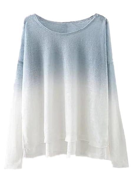 AILIENT Camisetas Tops Para Mujer Camisetas Otoño Vintage Manga Larga Oversize Elegante Color de Degradado Fitness Flexible T-shirt Maglia: Amazon.es: Ropa ...