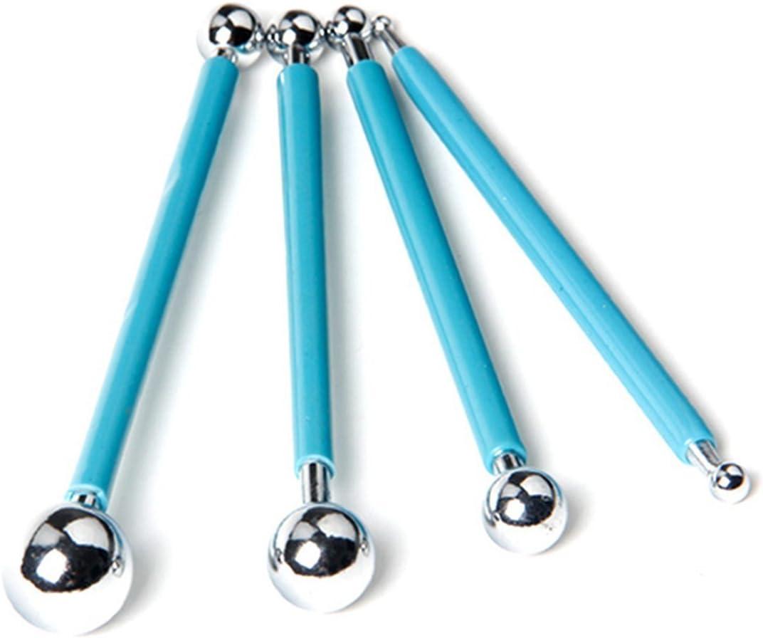 Cortador de Moldeado de Pasta de Azúcar para Decoración de Pastel de Bola de Metal - 4 Piezas - Azul, Acero Inoxidable