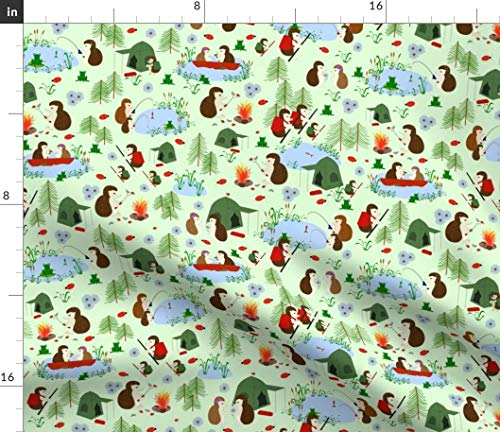 Hedgehog Fabric - Camping Camp Boating Frog Ladybug Tent Print on Fabric by The Yard - Sport Lycra for Swimwear Performance Leggings Apparel Fashion