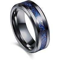 Varanda ドラゴンデザイン指輪 リング 龍紋 竜 メンズ ステンレス チタンリング チタン指輪 平打ち アクセサリー ブルー ブラック