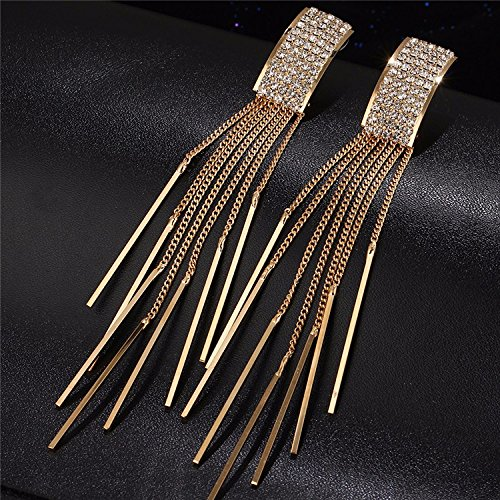 Money coming shop 17KM Brand New Gold Color Long Crystal Tassel Dangle Earrings for Women Bar Wedding Drop Earing Fashion Jewelry Gifts